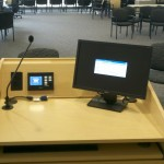 Orange County Community College Podium with extron controller and shure gooseneck mic